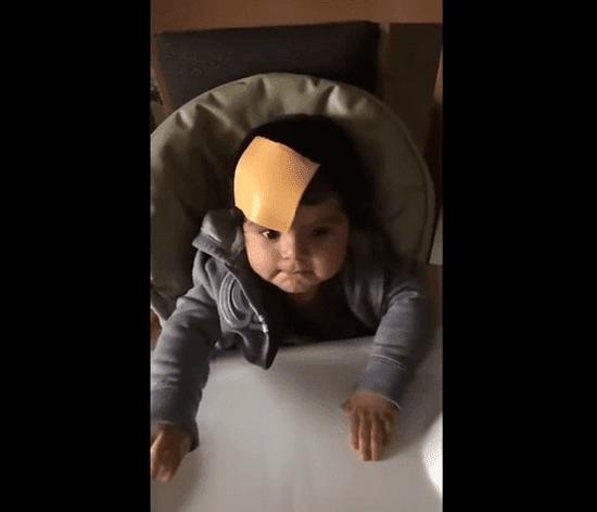 Un bébé confus regarde ses parents avec une tranche de fromage sur la tête. l Source: TopVids!