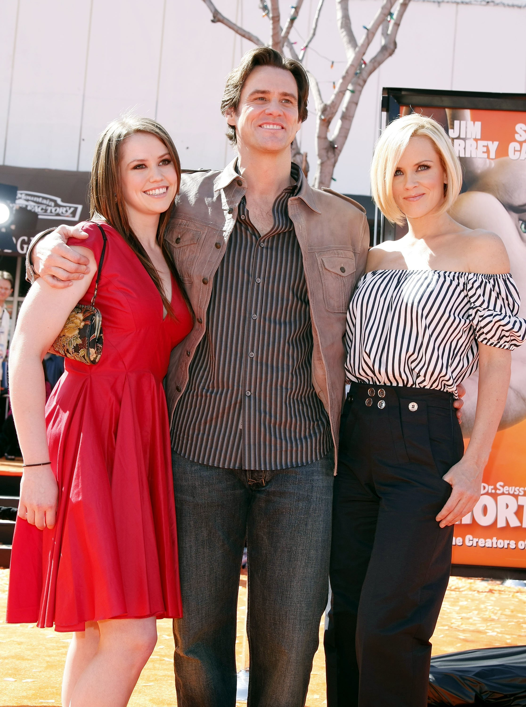 "Jim Carrey, his daughter Jane and actress Jenny McCarthy at the world premiere of ""Horton Hears a Who!"" at the Mann Village Theater on March 8, 2008 