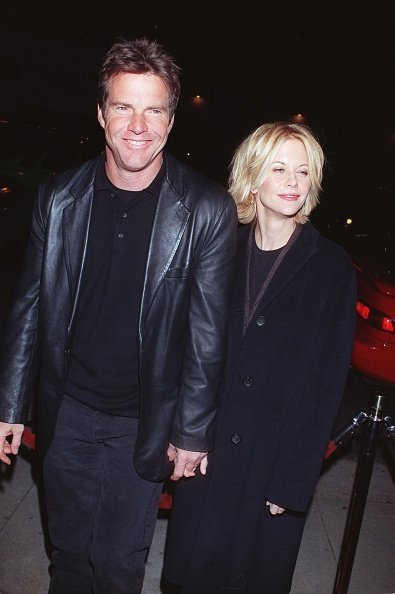 """Dennis Quaid and Meg Ryan at the premiere of """"Hurly Burly"""" December 21, 1998 in Los Angeles, CA 