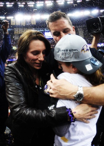 John Harbaugh celebrates with his wife Ingrid and his daughter Alison on February 3, 2013 in New Orleans, Louisiana.   Photo: Getty Images