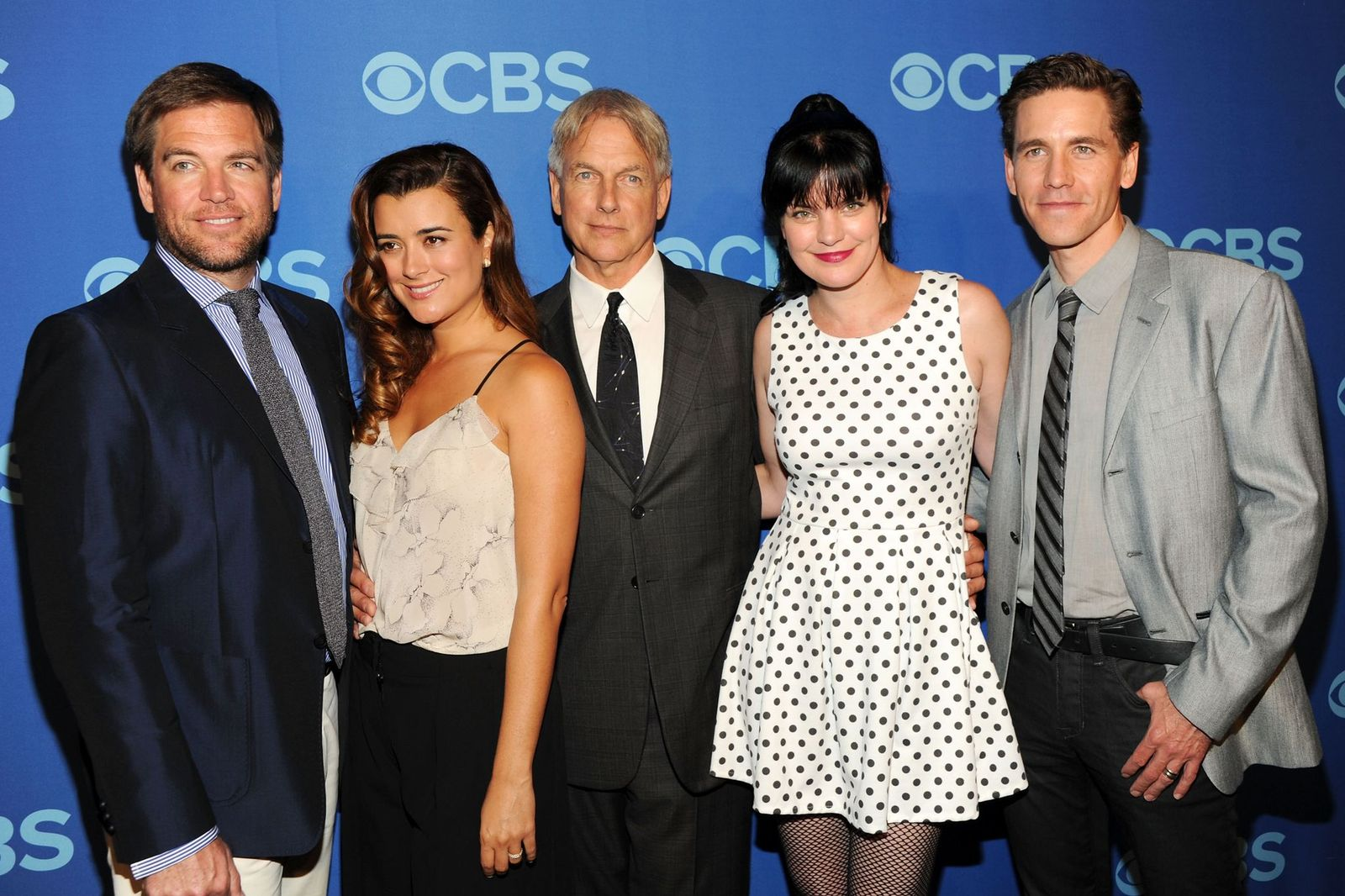 Cast of NCIS Michael Weatherly, Cote de Pable, Mark Harmon, Pauley Perrette and Brian Dietzen at CBS 2013 Upfront Presentation at The Tent at Lincoln Center on May 15, 2013 in New York City | Photo: Getty Images
