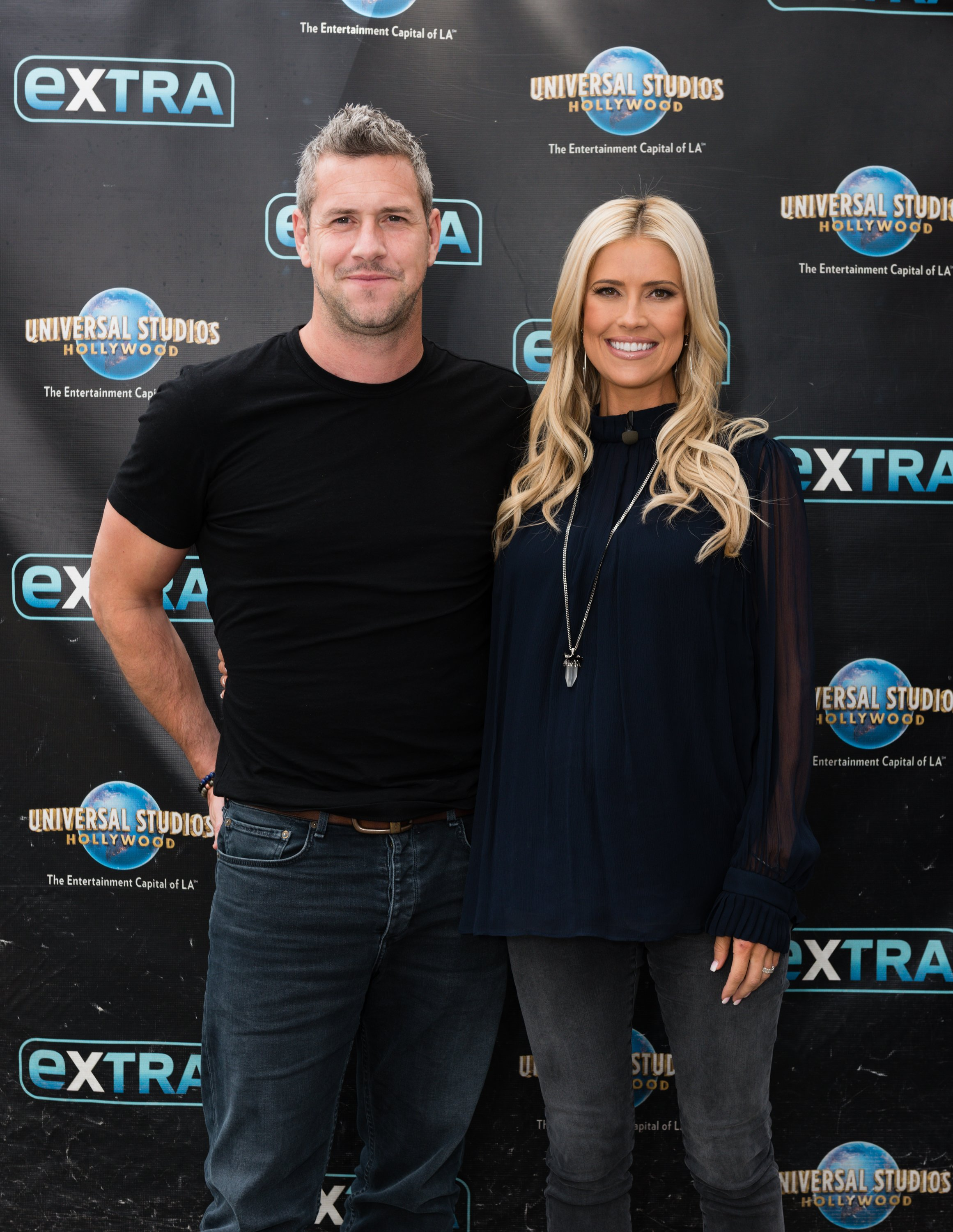 """Christina Anstead and Ant Anstead visit """"Extra"""" at Universal Studios Hollywood on May 22, 2019, in Universal City, California. 