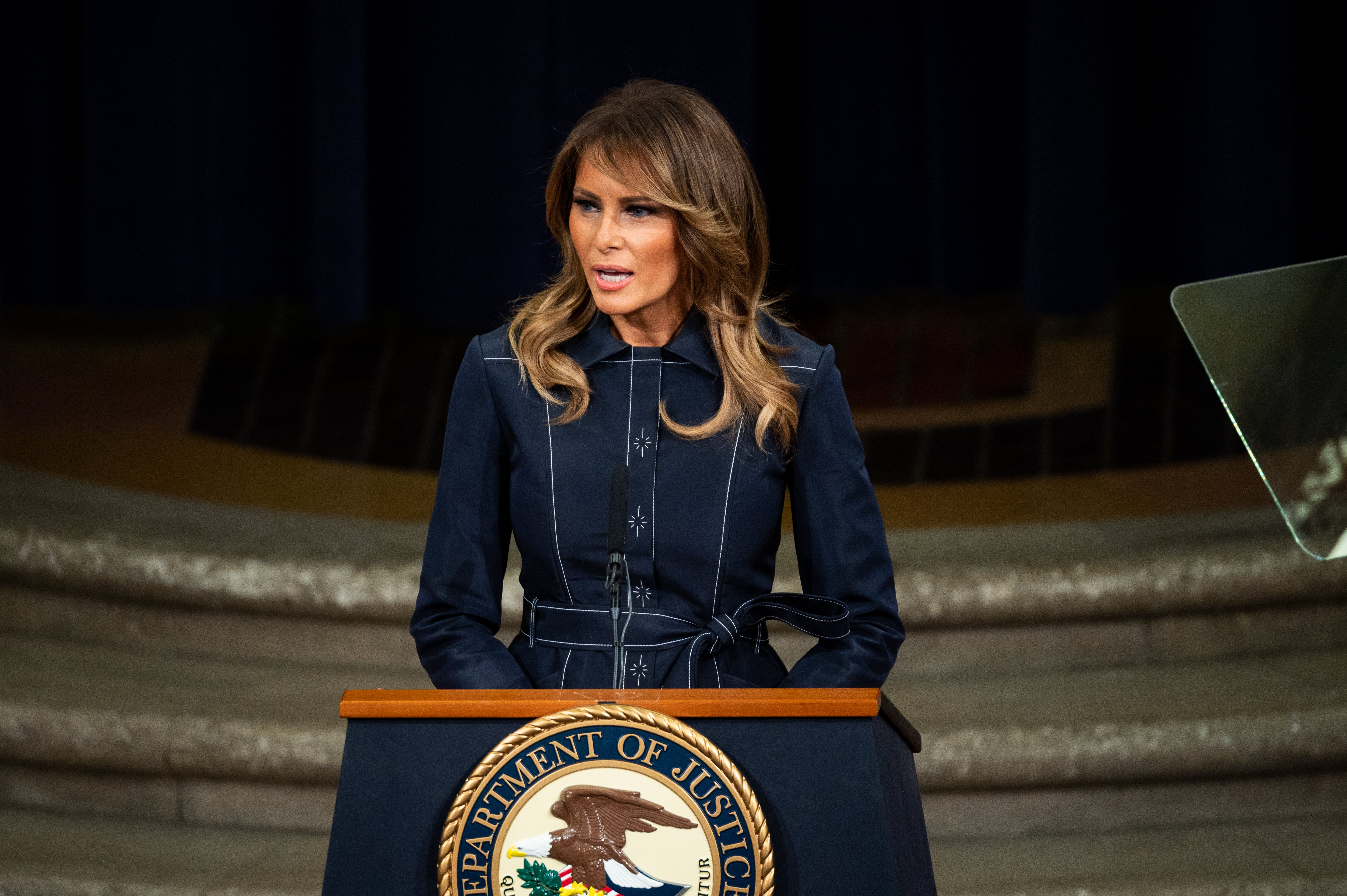 First Lady Melania Trump speaks at the Department of Justice National Opioid Summit on March 6, 2020, in Washington, DC. | Source: Getty Images.