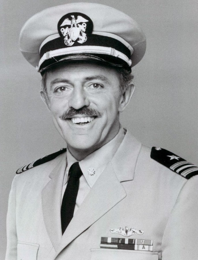 "Portrait of John Astin as Commander Sherman on ""Operation Petticoat"" circa 1977 