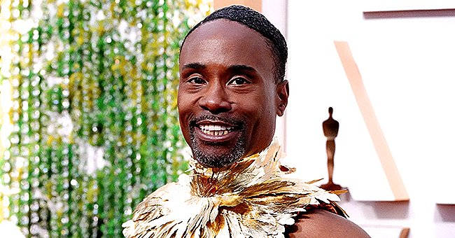 Billy Porter from 'Pose' Stunned in Gold-Foil-Feathered Bodice and Billowing Graphic Skirt at the 2020 Oscars