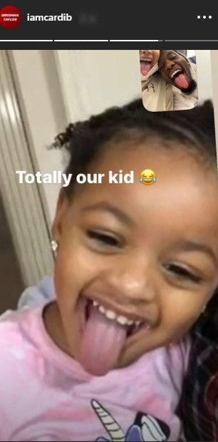 A photo of Kulture on Facetime with her parents, Cardi and Offset. | Photo: Instagram/iamcardib