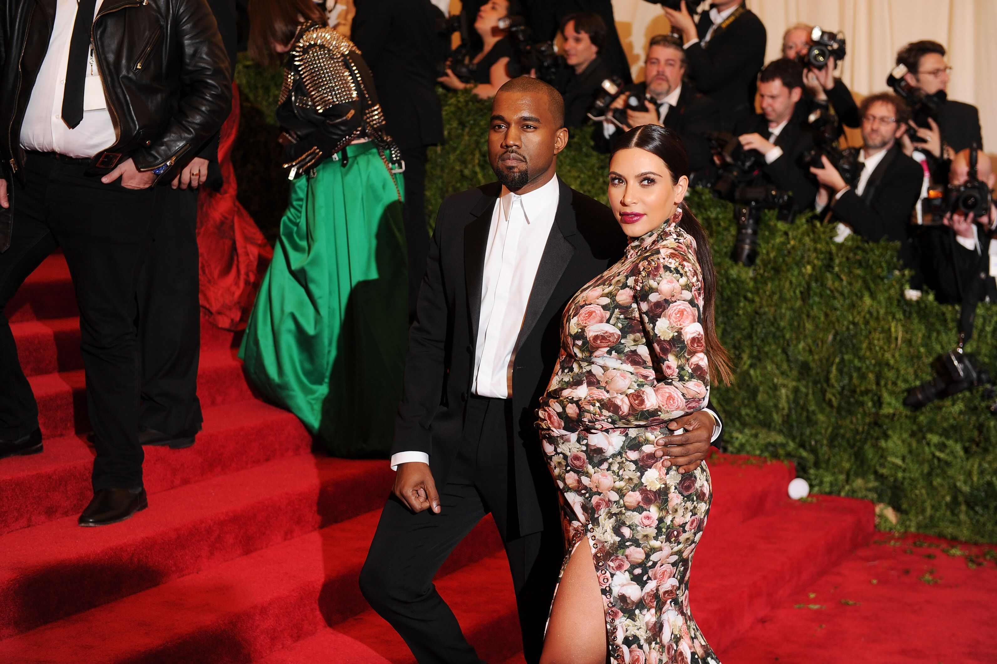 Kanye West and a heavily pregnant Kim Kardashian at the MET Gala/ Source: Getty Images