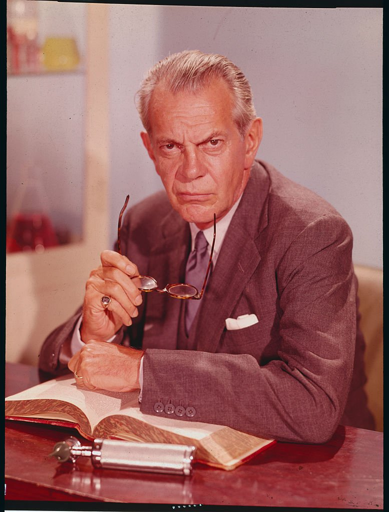 """Raymond Massey in the role of Dr. Gillespie for a publicity handout from the television medical drama, """"Dr. Kildare."""" 