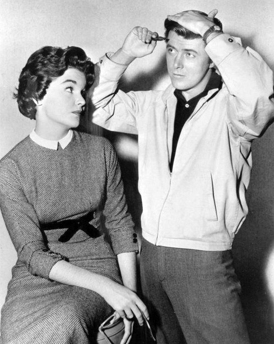 "Edd Byrnes as ""Kookie"" with actress Sue Randall in ""77 Sunset Strip."" 