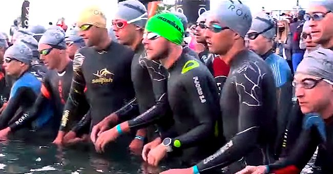 Athletes line up for the swimming portion of the Ironman 70.3 North American Championship, 2021, Utah.   Photo: youtube.com/FOX 13 News Utah