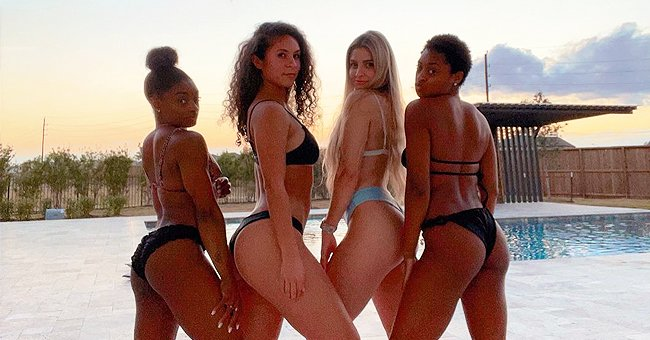 Simone Biles Shows off Fit Figure in Bikini While Posing with 3 Other Girls in a Photo