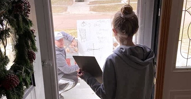 Math Teacher Comes to 6th-Grader's Home to Help Her with Classes from a Safe Distance