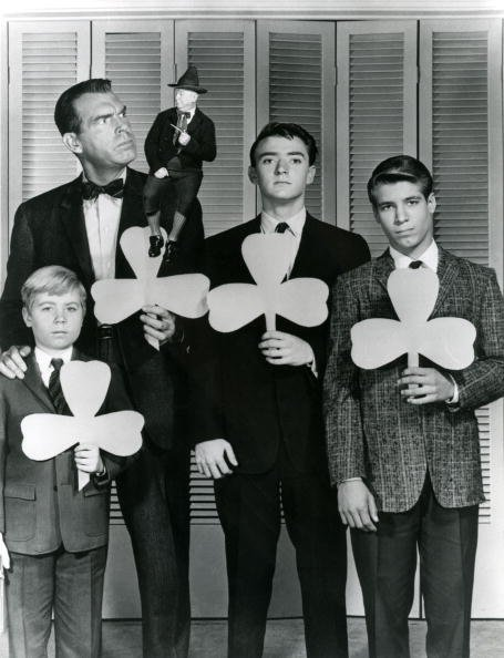 """Fred MacMurray, William Frawley, Tim Considine and Don Grady, on the set of """"My Three Sons""""
