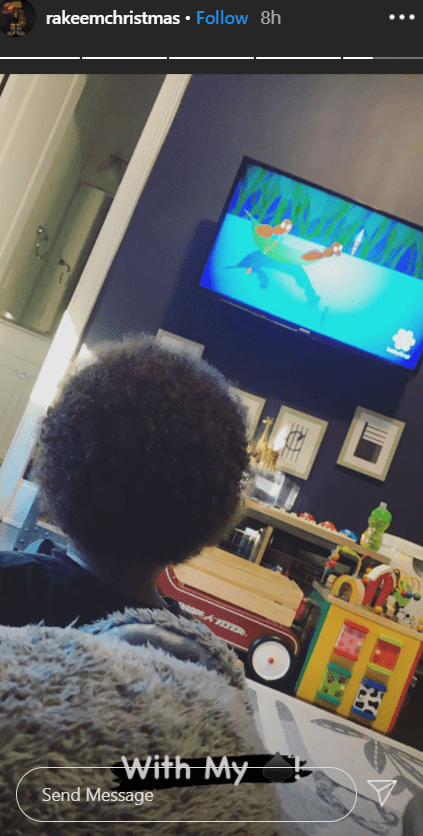 Michael Jordan's curly-haired grandson, Rakeem Michael Christmas spending quality time with his father, Rakeem Christmas (not pictured) | Photo: Instagram / rakeemchristmas