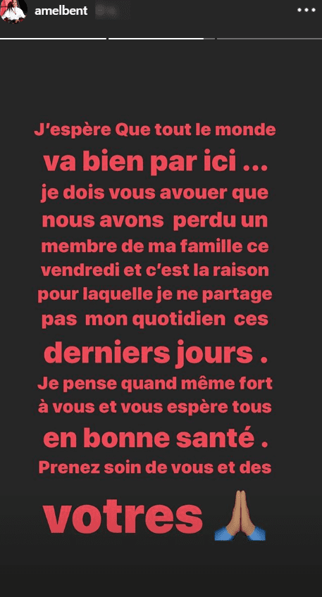 Amel Bent annonce la mort de son oncle. | Photo : Story Instagram / Amel Bent