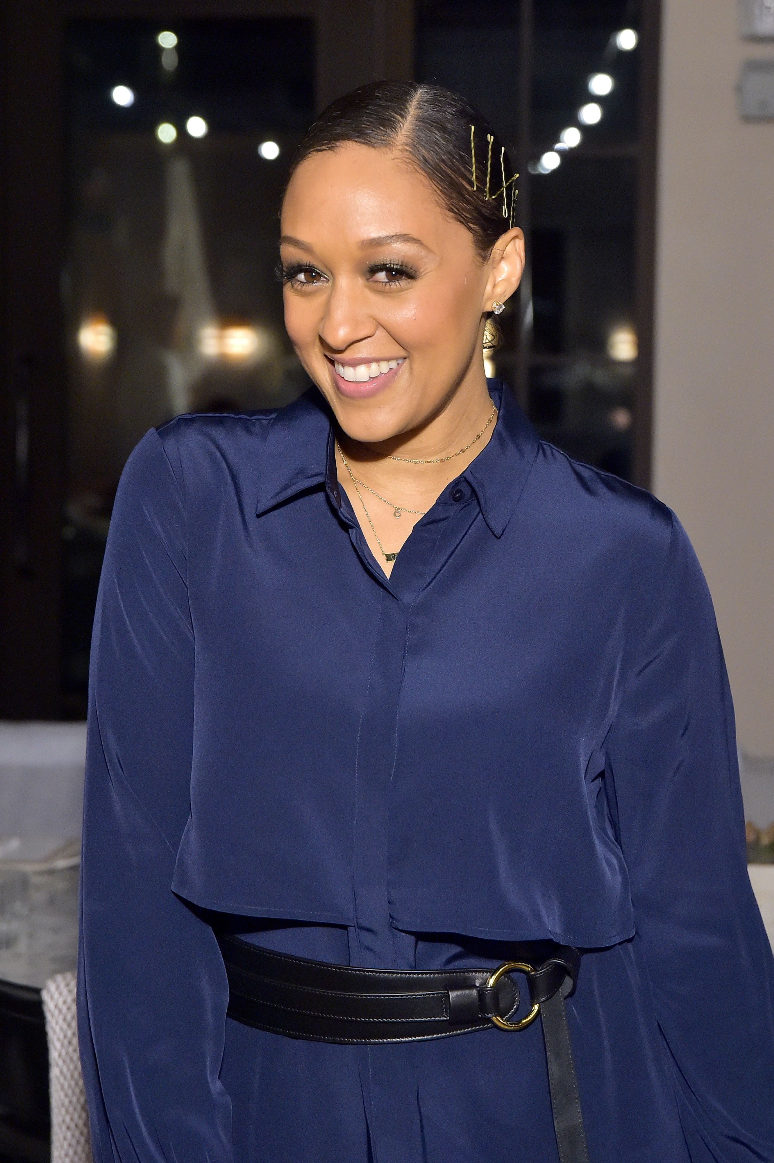 Tia Mowry attended as Cuyana x RAD Host Panel and Dinner in Honor of Future Coalition at The H Club Los Angeles on October 30, 2019   Photo: Getty Images