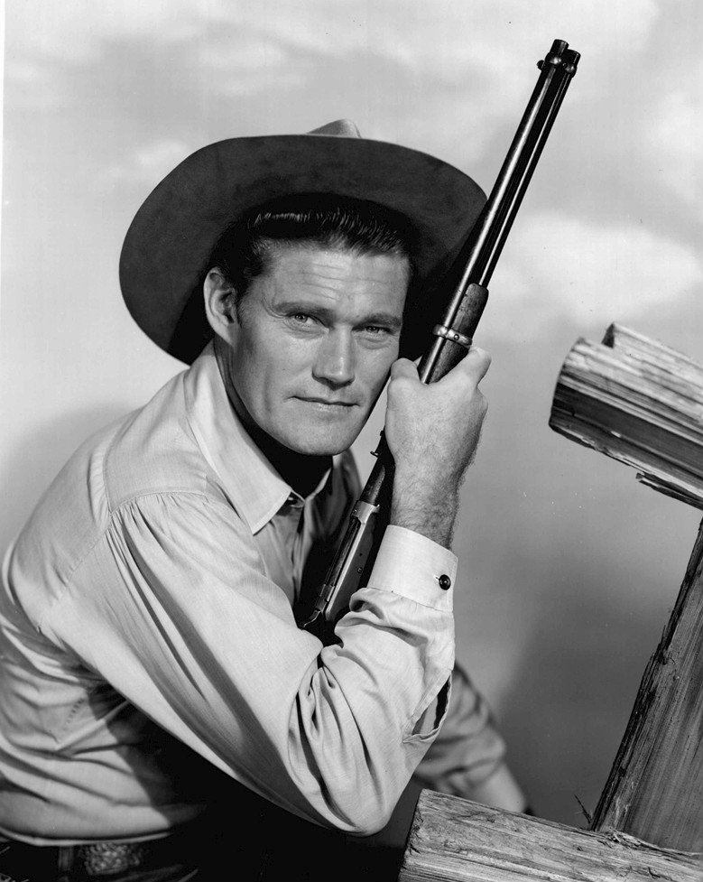 "Photo of Chuck Connors as Lucas McCain from the television program ""The Rifleman."" 