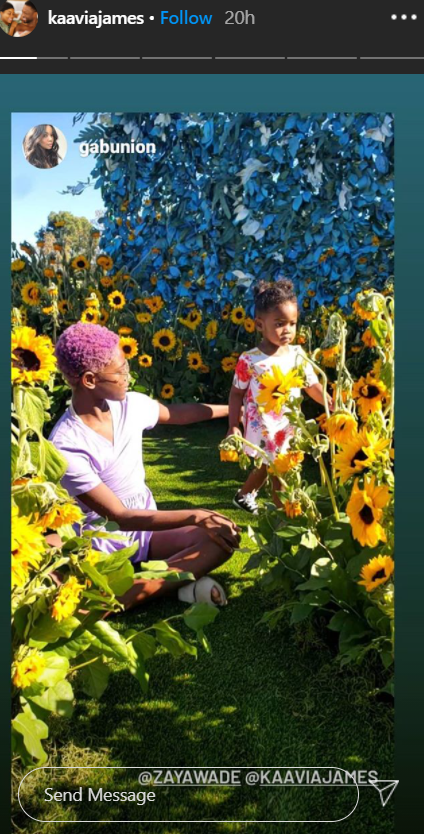 Zaya and Kaavia posing in a field surrounded by sunflowers and colorful blue leaves. | Photo: Instagram / kaaviajames