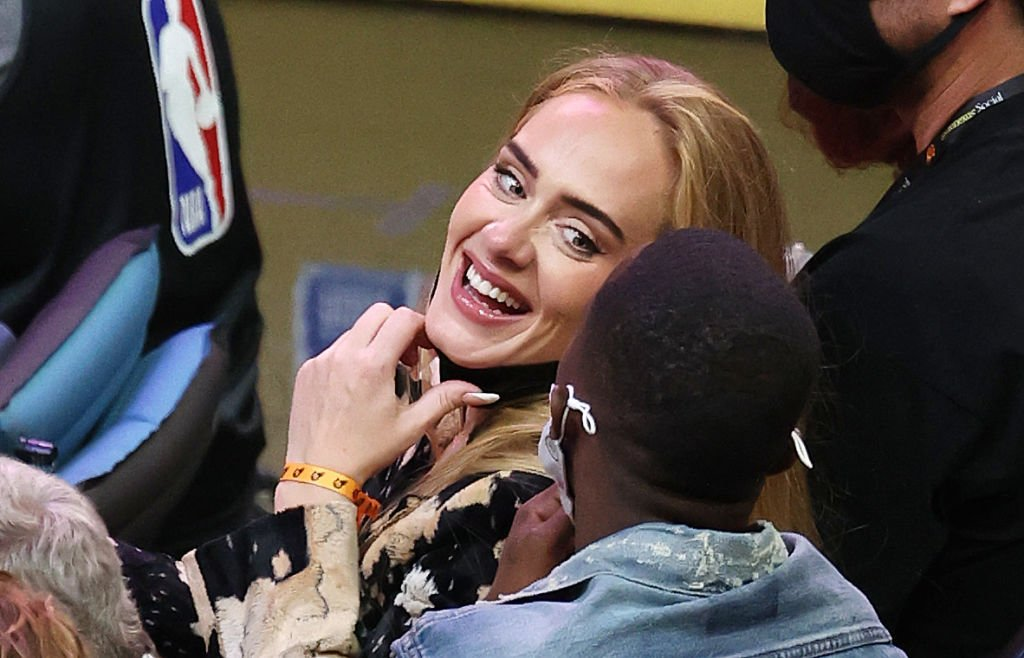 Adele smiles with Rich Paul during the second half in Game Five of the NBA Finals, July 2021   Source: Getty Images