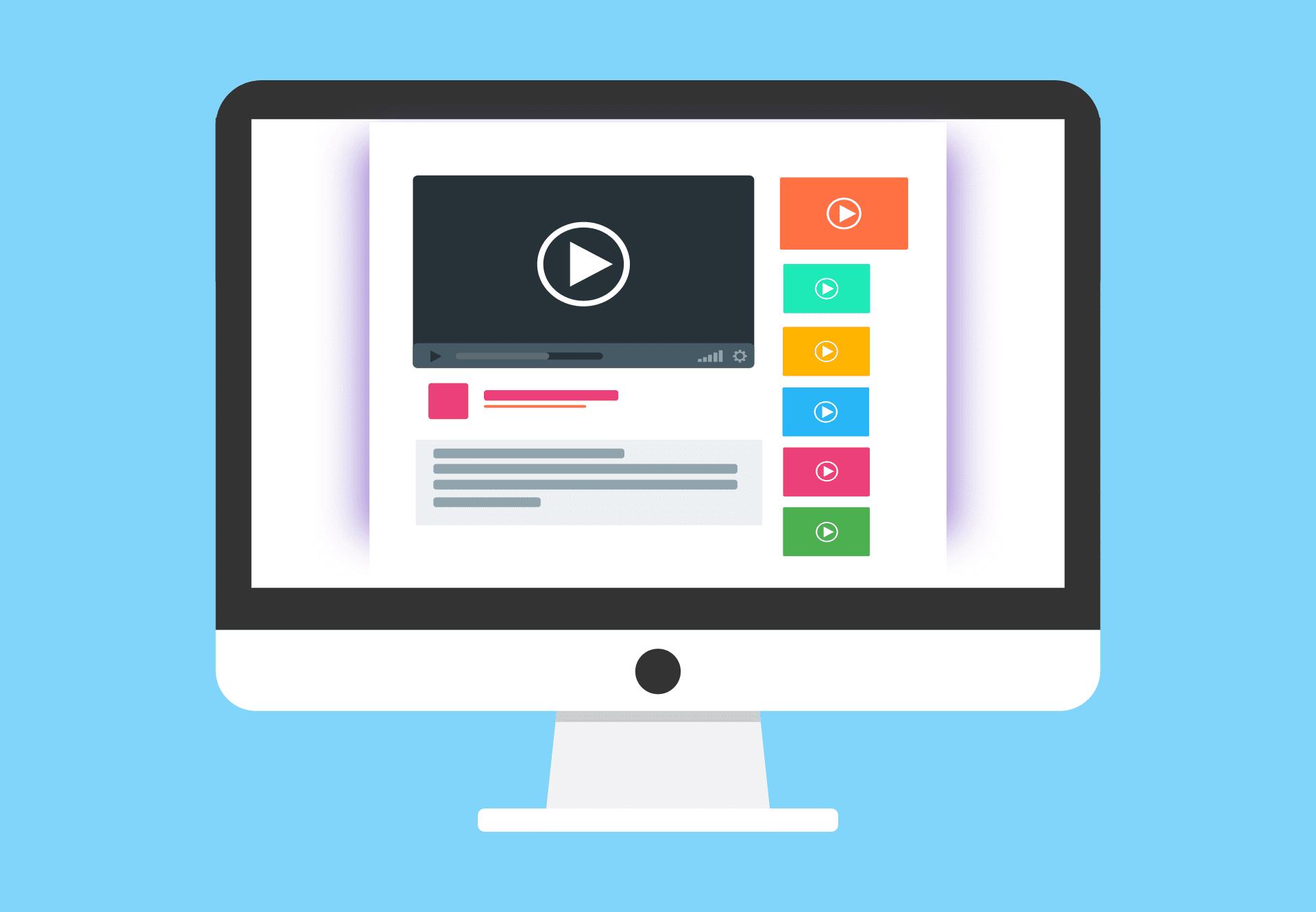 Sitio web con videos. Fuente: Pixabay