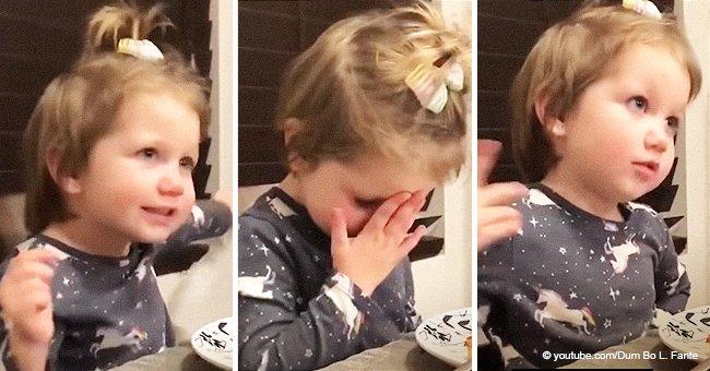 Kleines Mädchen diskutiert auf süße Art und Weise wegen ihrem neuen Freund mit dem Vater