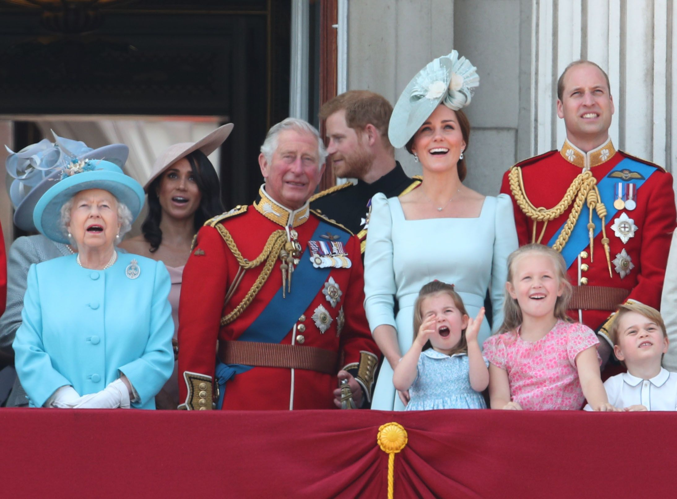 The Royal family on the balcony of Buckingham Palace, in central London,  June 09, 2018 | Photo: Getty Images