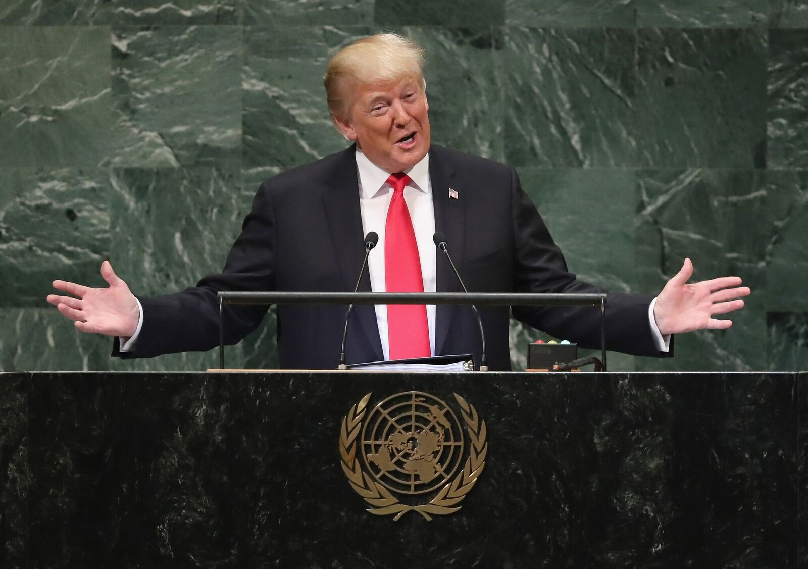President Donald Trump at the 73rd session of the United Nations General Assembly on September 25, 2018, in New York City | Photo: John Moore/Getty Images