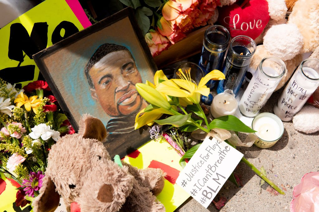 The memorial for George Floyd is seen on Wednesday, May 27, 2020 during the second day of protests over his death in Minneapolis.   Source: Getty Images.