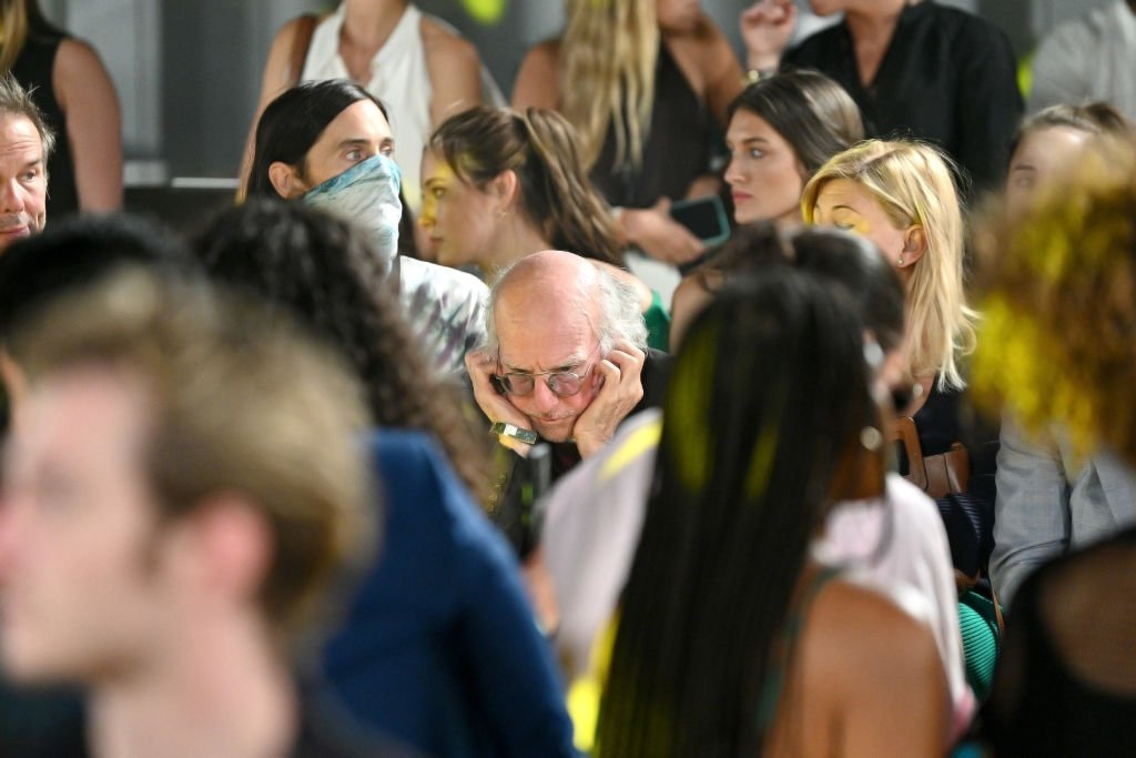 Larry David plugs his ears at the STAUD runway show during New York Fashion Week, September 2021   Source: Getty Images