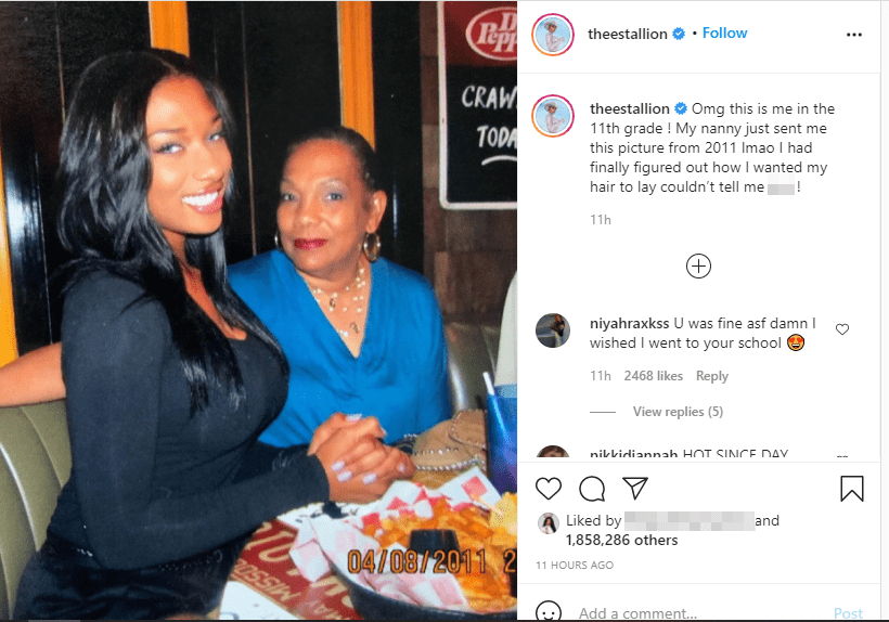 Screenshot of photo of Megan Thee Stallion and her grandmother on Instagram   Source: Instagram/theestallion