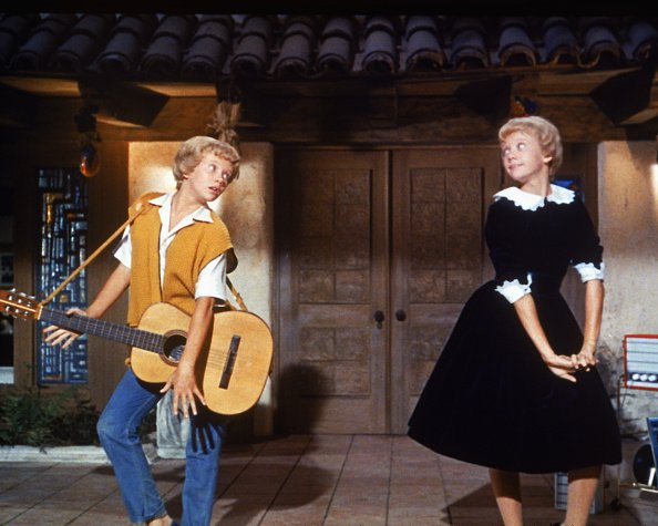 """Hayley Mills as identical twins Sharon McKendrick and Susan Evers in the Walt Disney comedy """"The Parent Trap,"""" circa 1961. 