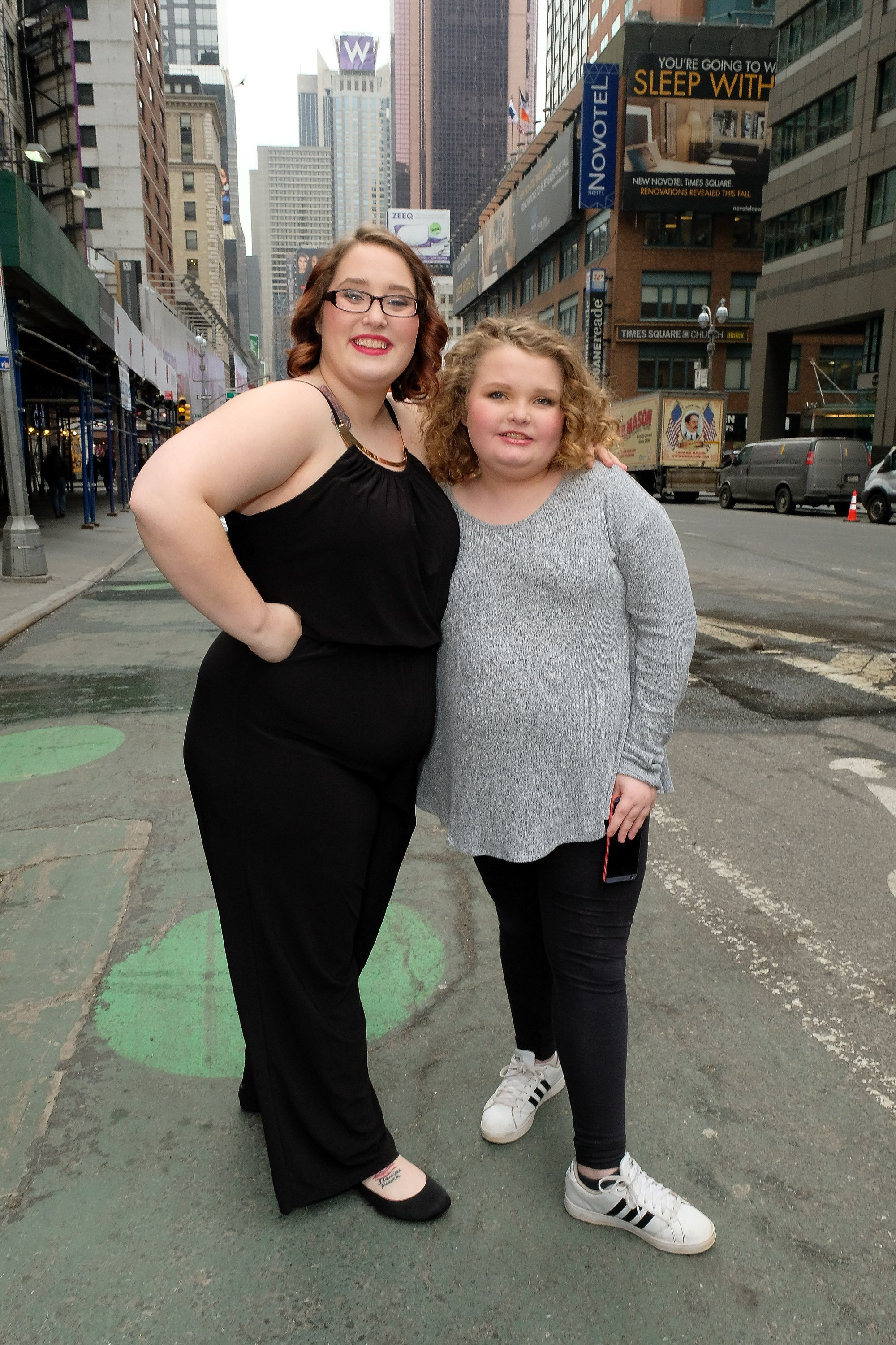 "Lauryn ""Pumpkin"" Shannon and Alana ""Honey Boo Boo"" Thompson visit ""Extra"" in Times Square on February 22, 2017 in New York City 