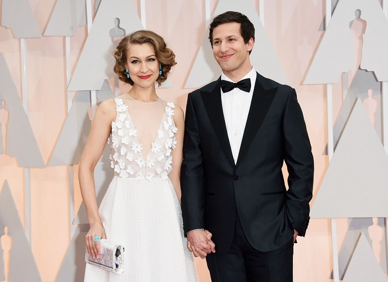 Joanna Newsom and Andy Samberg attending the 87th Annual Academy Awards at Hollywood & Highland Center in Hollywood, California in February 2015 | Image: Getty Images.