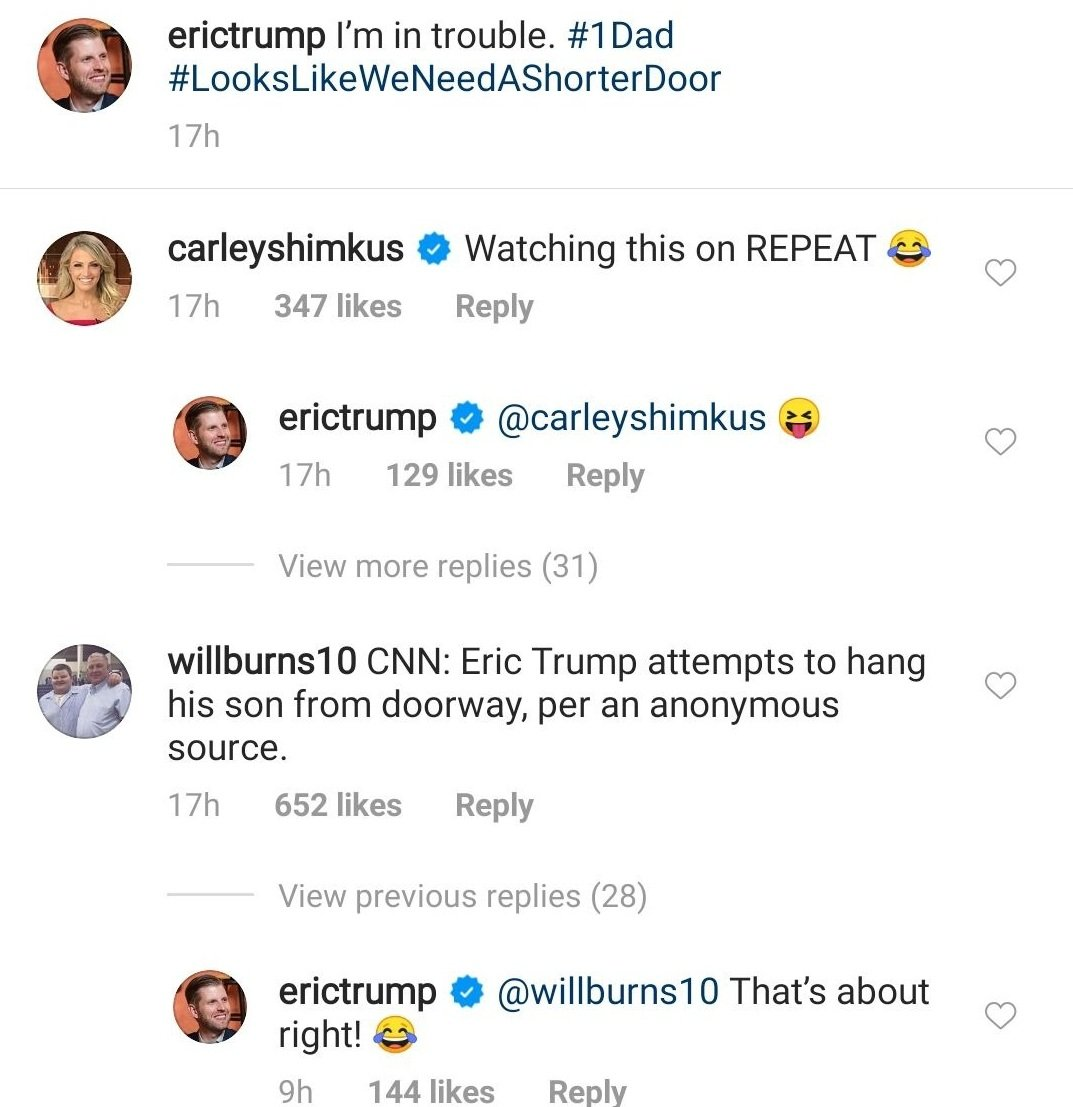 Eric Trump responds to comments from followers about his failed attempt to put up a hanging chair for his daughter.   Source: Instagram/erictrump