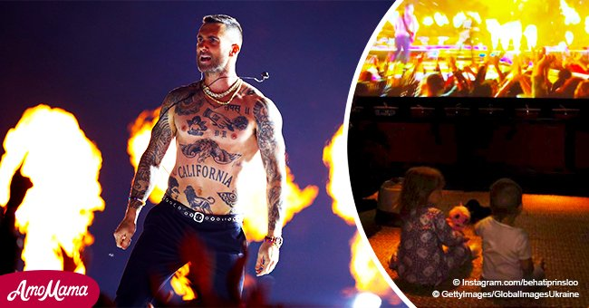 Picture of Adam Levine's little daughters watching dad's shamed performance at the Super Bowl