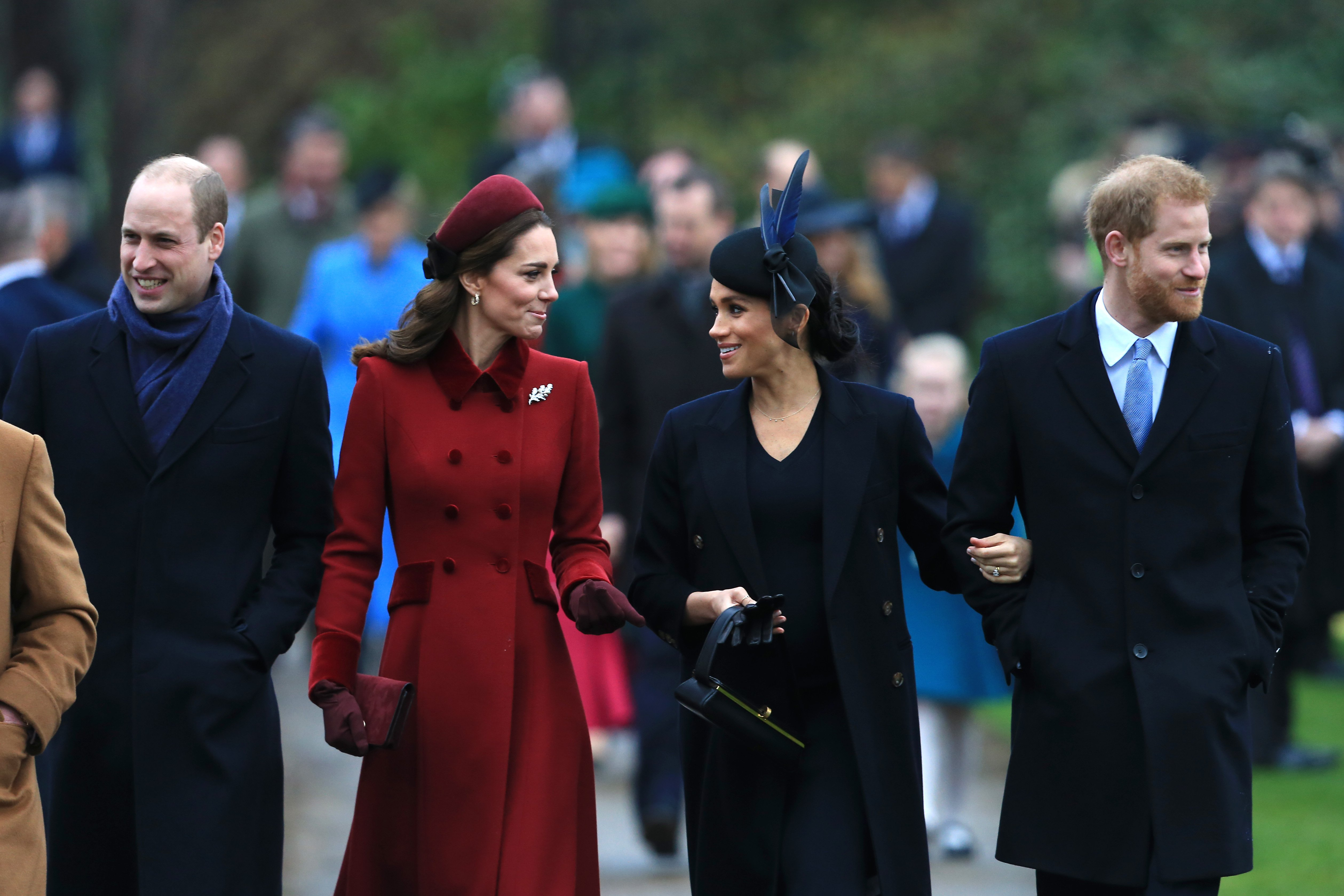 Prince William, Catherine, Meghan and Prince Harry, Duke of Sussex arrive to attend Christmas Day Church service at Church of St Mary Magdalene on the Sandringham estate on December 25, 2018. | Photo: Getty Images