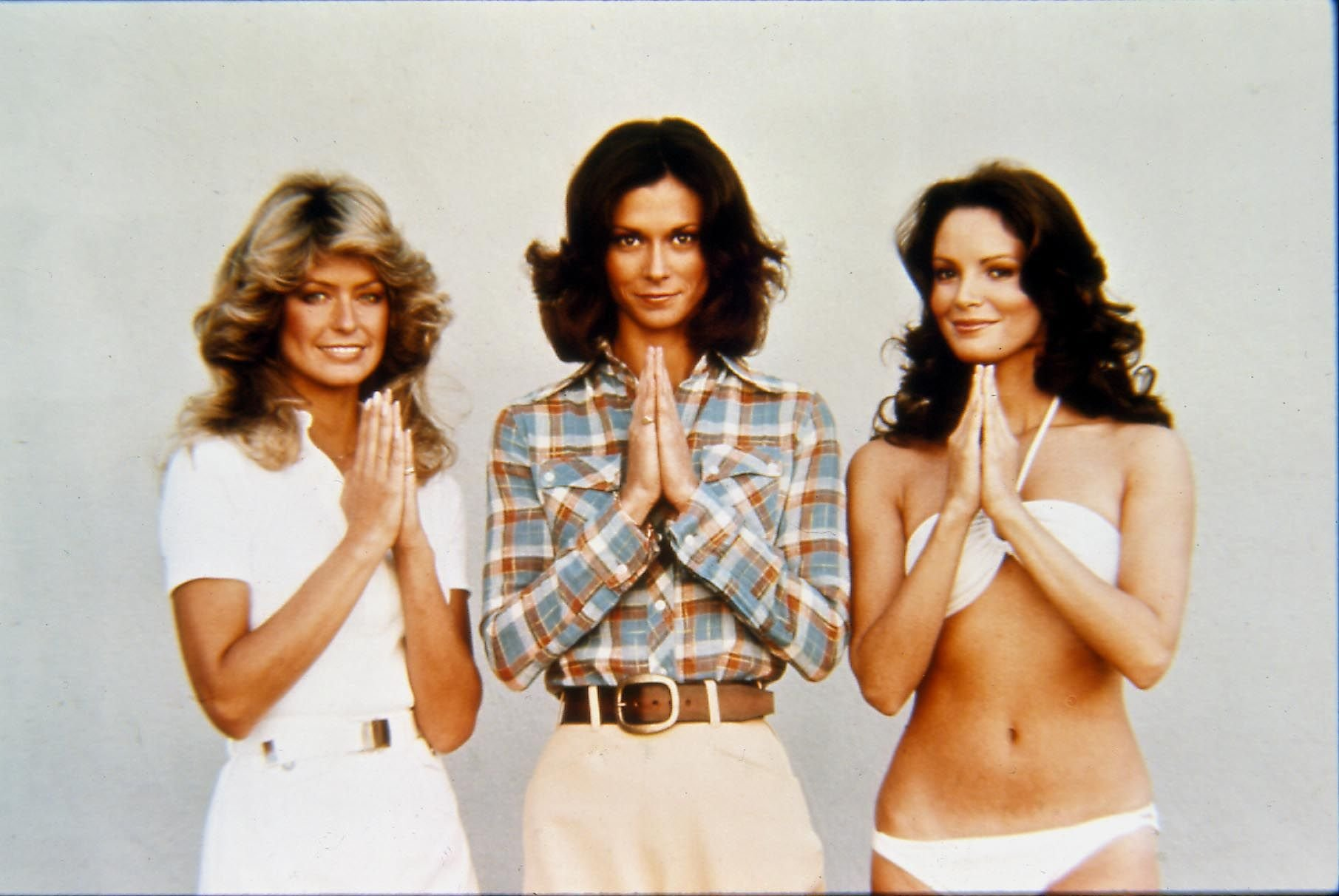 """Farrah Fawcett, Kate Jackson, and Jaclyn Smith pose for """"Charlie's Angels."""" 