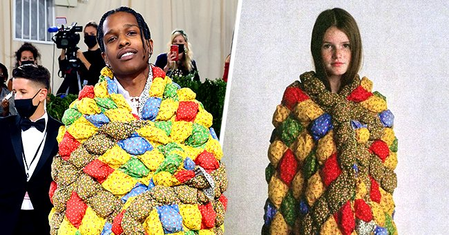 A$AP Rocky at the 2021 Met Gala (left) and a model wearing the outfit by Eli Russel Lennitz (right)   Photos: Instagram and Getty Images