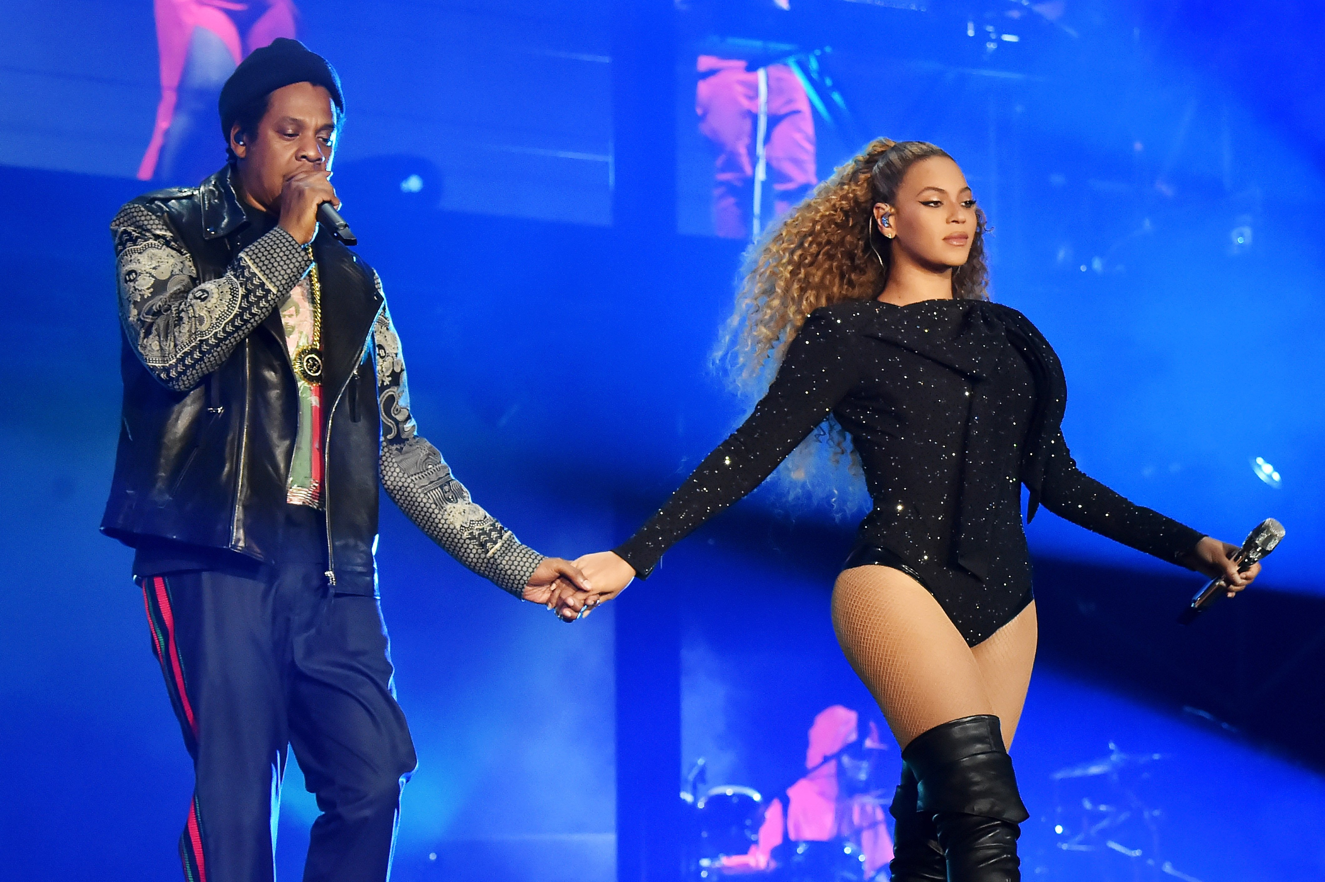 "Beyonce and Jay-Z during their ""On The Run II"" show in Cardiff, Wales in June 2018. 