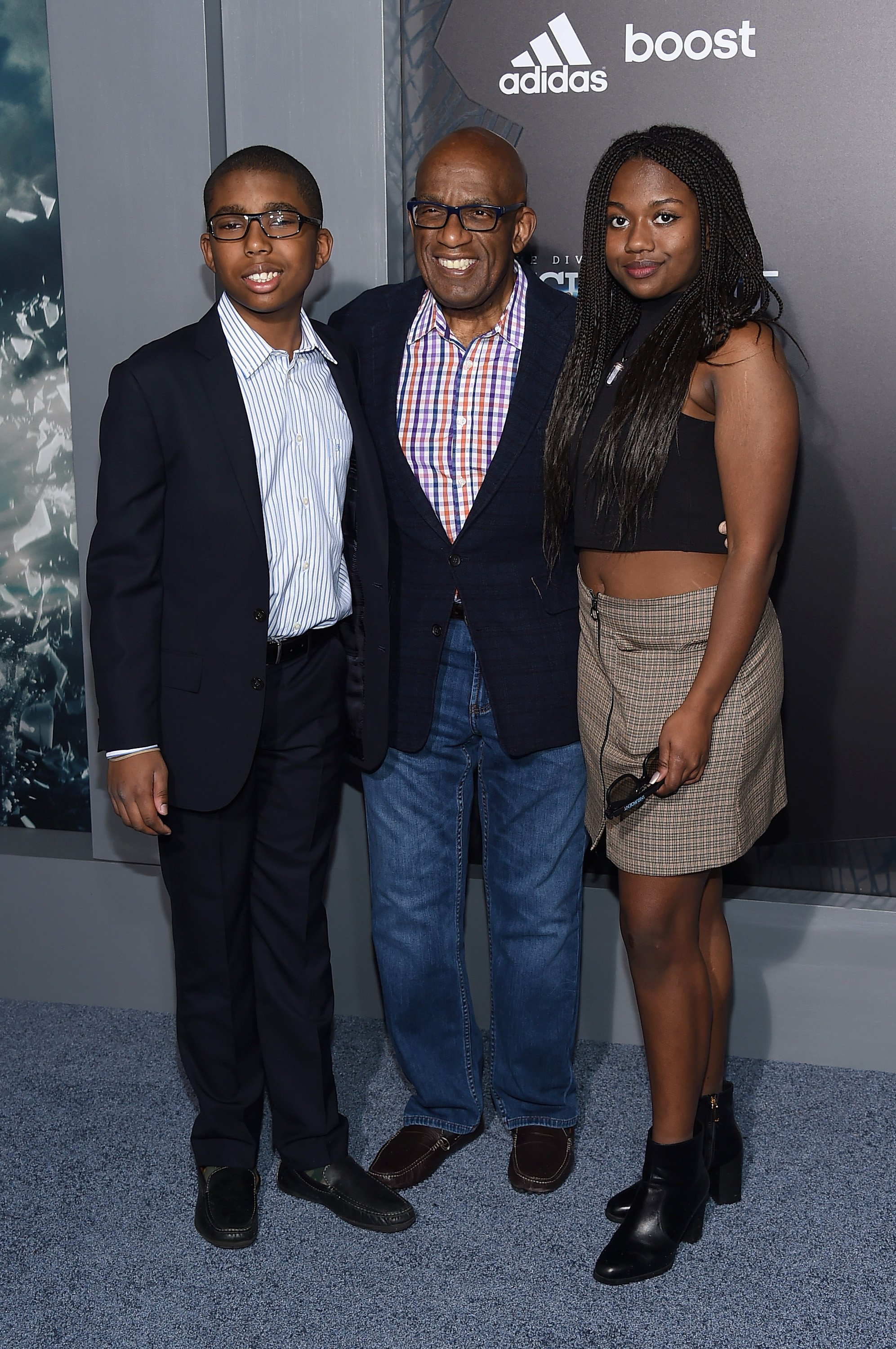 "Nicholas Albert Roker, Al Roker (C), and Leila Roker attends ""The Divergent Series: Insurgent"" New York premiere at Ziegfeld Theater on March 16, 2015, in New York City. 