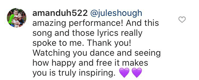 A fan comments on Julianne Hough's recent performance | Youtube: America's Got Talent