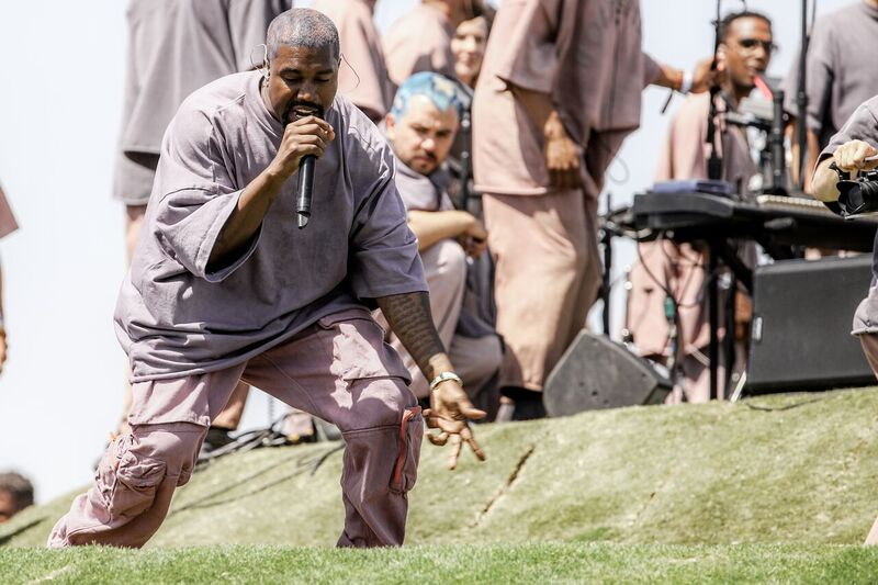 Kanye West during one of his Sunday Service events | Source: Getty Images/GlobalImagesUkraine