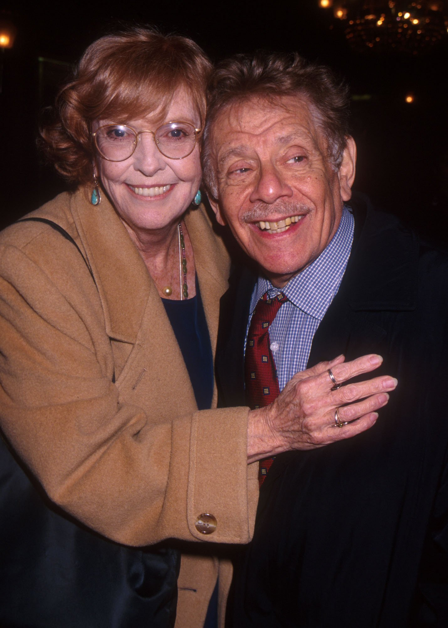 "Anne Meara and husband Jerry Stiller attend the New York City premiere of ""Keeping The Faith"" April 5, 2000. 