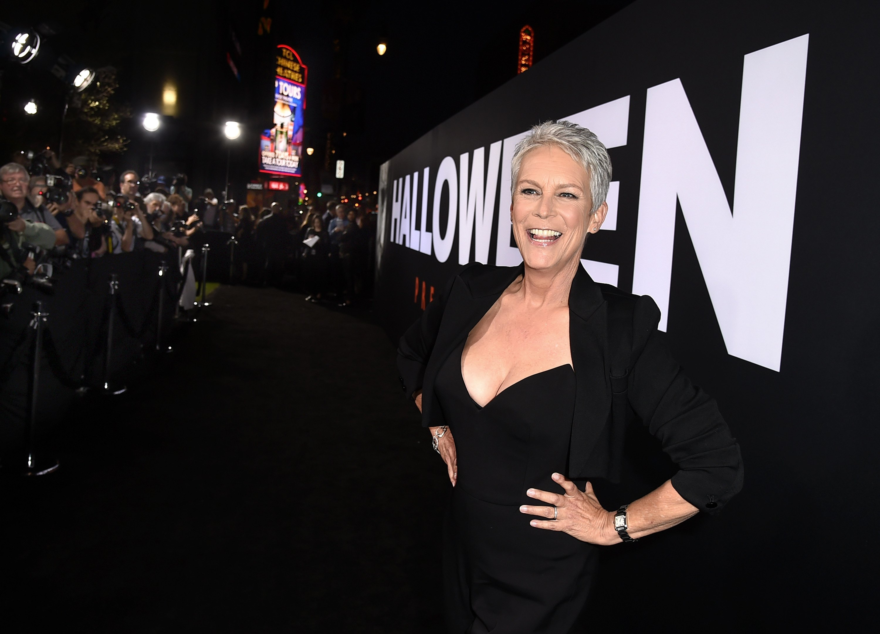 """Jamie Lee Curtis arrives at the premiere of Universal Pictures' """"Halloween"""" at the TCL Chinese Theatre on October 17, 2018 in Los Angeles, California 