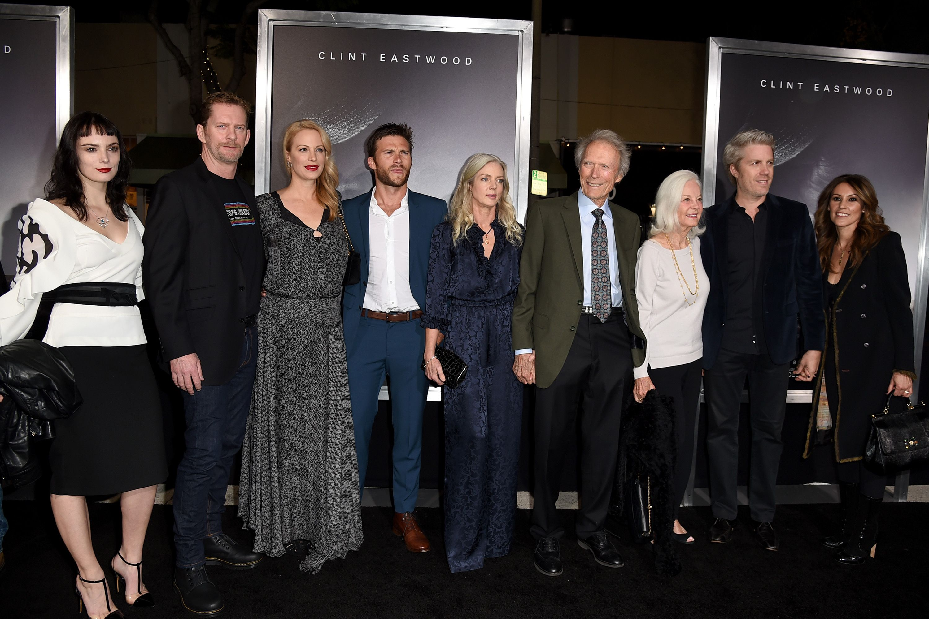 """Graylen Eastwood, Stacy Poitras, Alison Eastwood, Scott Eastwood, Christina Sandera, Clint Eastwood, Maggie Johnson, Kyle Eastwood and Cynthia Ramirez pose at the premiere of Warner Bros. Pictures' """"The Mule"""" at the Village Theatre on December 10, 2018 