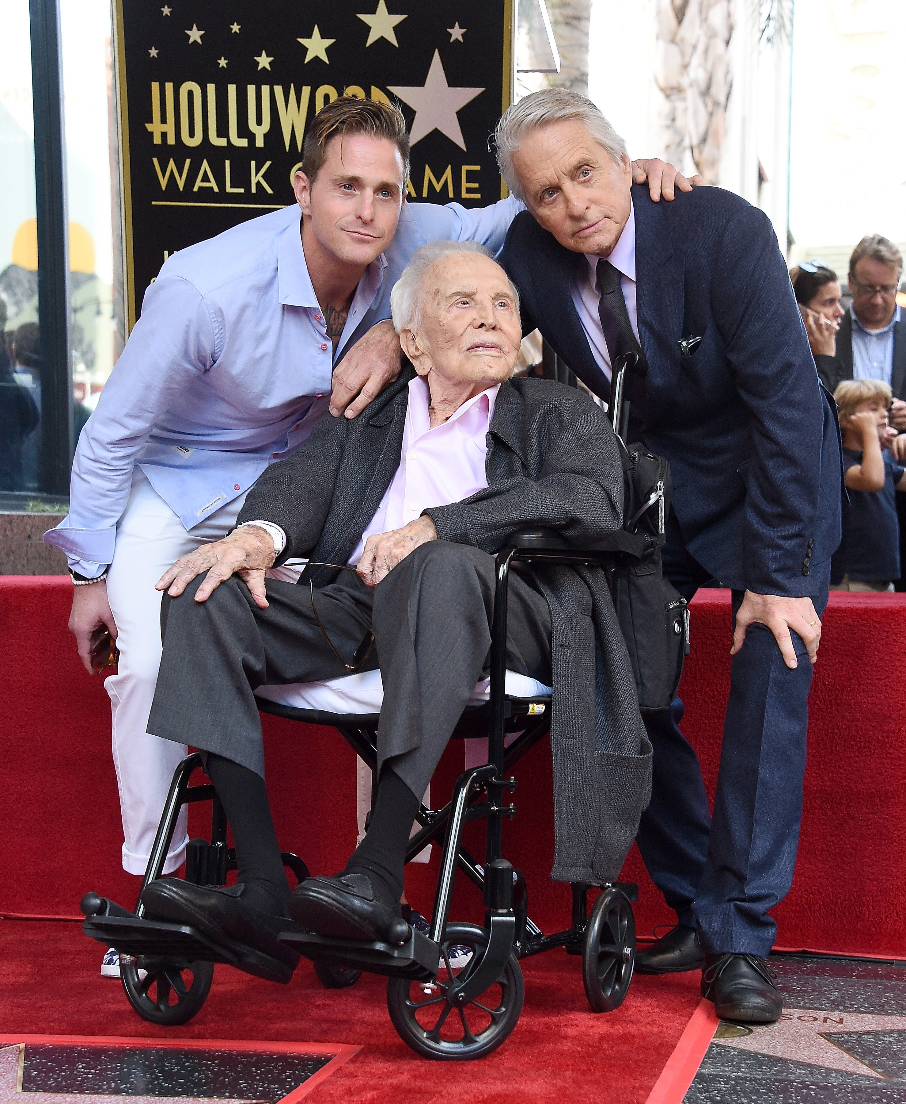 Cameron, Kirk, and Michael Douglas pose at the Michael Douglas Star On The Hollywood Walk Of Fame ceremony on November 6, 2018 in Hollywood, California | Photo: Getty Images