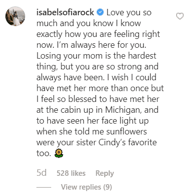 Isabel Rock's comment on Amy Roloff's post about her late mom | Source: Instagram/@Amyroloff
