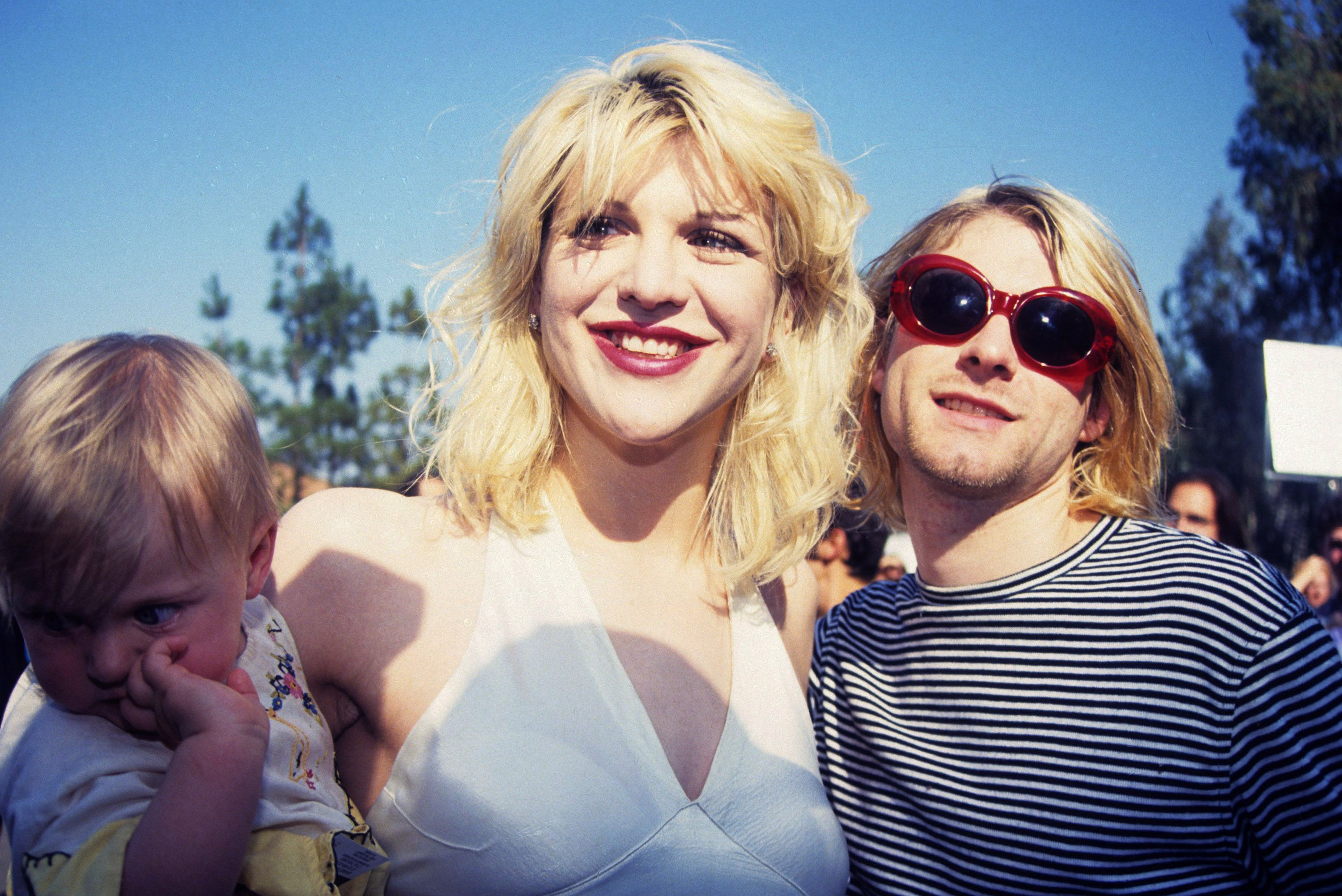 Kurt Cobain with wife Courtney Love and daughter Frances Bean Cobain at the 10th Annual MTV Video Music Awards. | Source: Getty Images