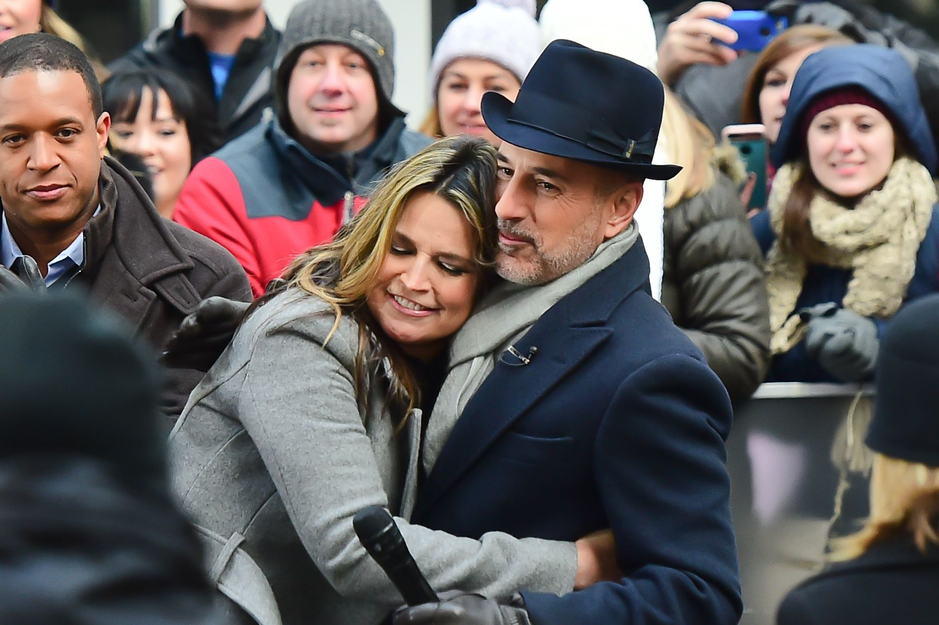 """Matt Lauer, Savannah Guthrie on the set of the """"Today Show""""on January 6, 2017 in New York City. 