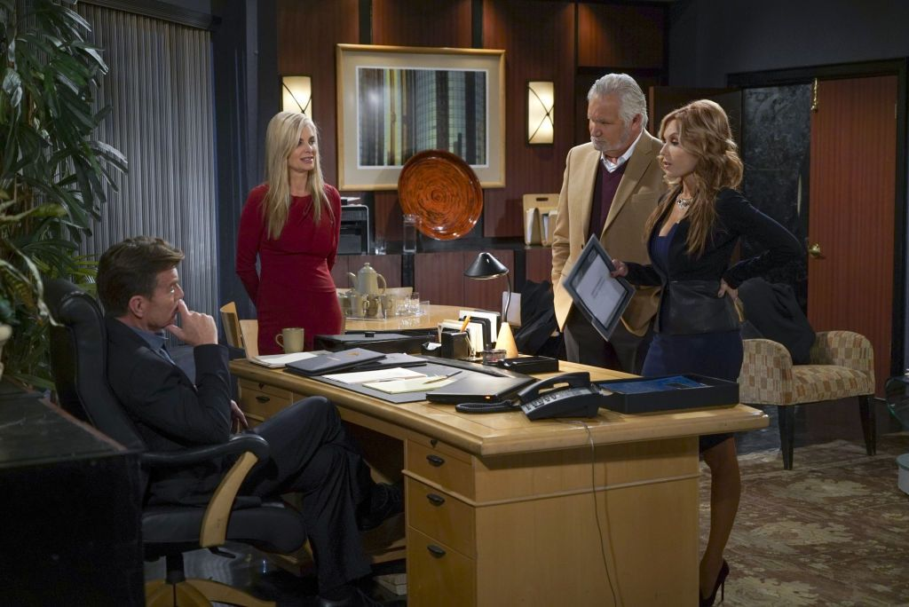 """Peter Bergman (Jack Abbott), Eileen Davidson (Ashley Abbott), John McCook (Eric Forrester) and Tracey Bregman (Lauren Fenmore) on the sitcom """"The Young and the Restless. """"